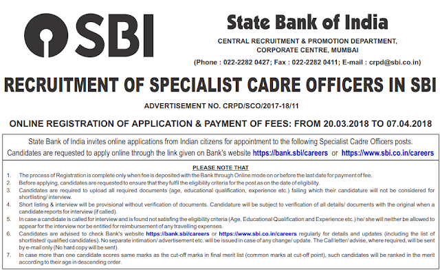 SBI SO Official Notification 2018 (119 Posts)