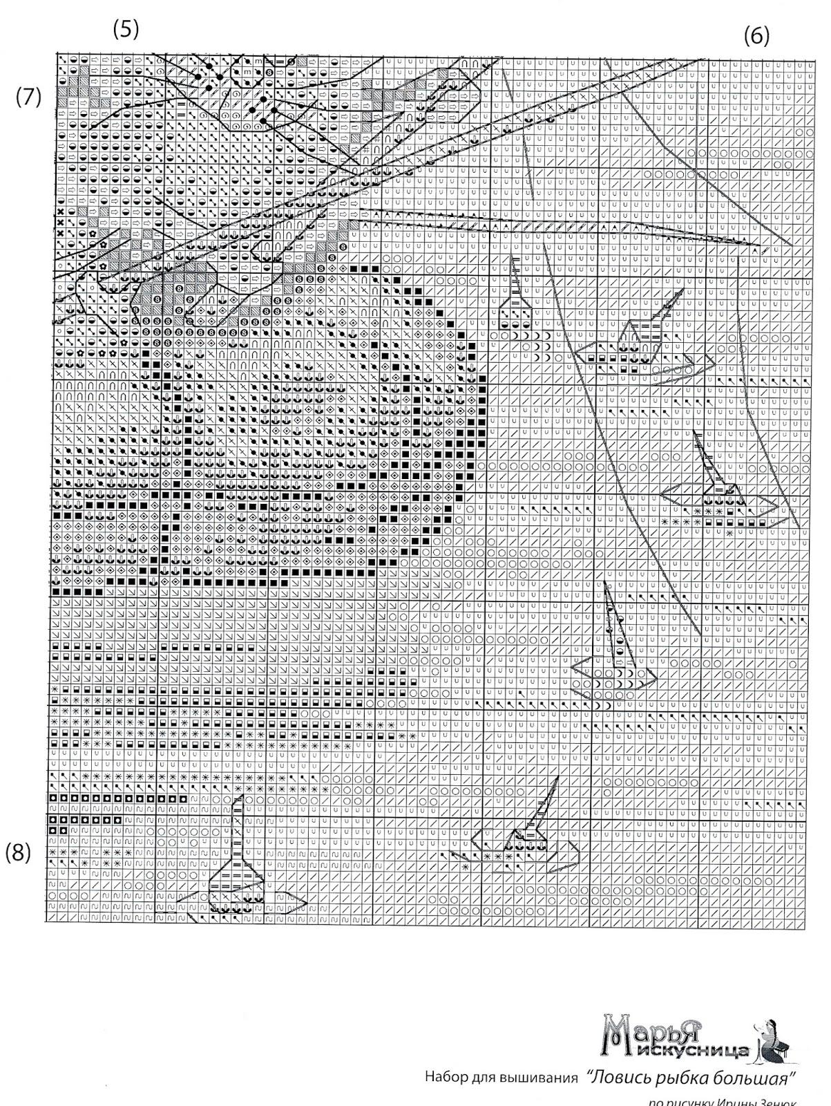 большая рыбка схема ловись вышивка