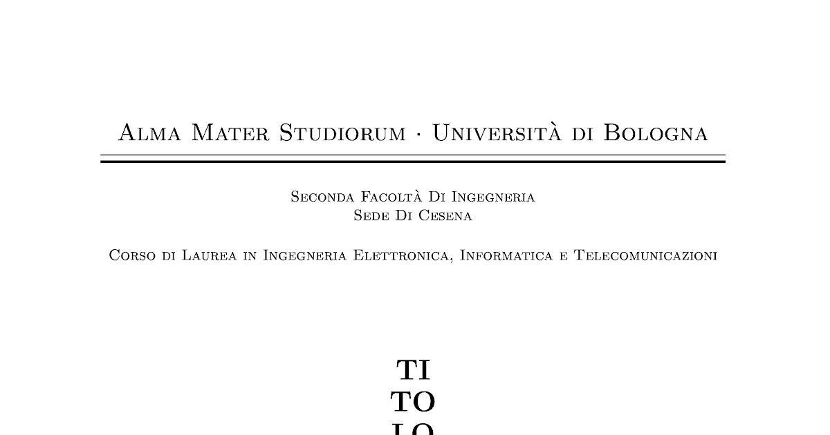 Pacini's Space: Frontespizio LaTeX UNIBO