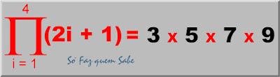 Produtório dos valores da variável (2i + 1) com i variando de 1 a 4