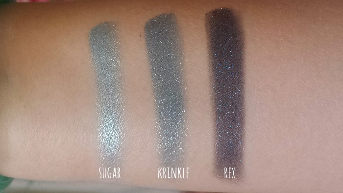 colourpop super shock eyeshadows  sugar, krinkle and rex swatches