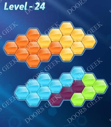Block! Hexa Puzzle [5 Mania] Level 24 Solution, Cheats, Walkthrough for android, iphone, ipad, ipod
