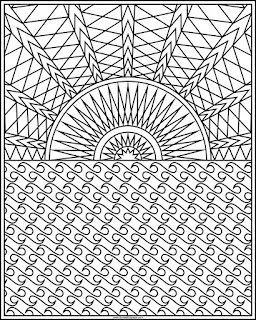 Sun and ocean coloring page available in jpg and transparent png format.