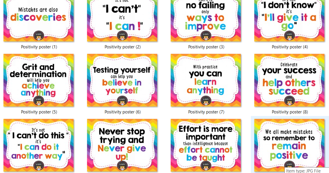Bulletin colorful positivity posters for classroom for Home economics classroom decorations