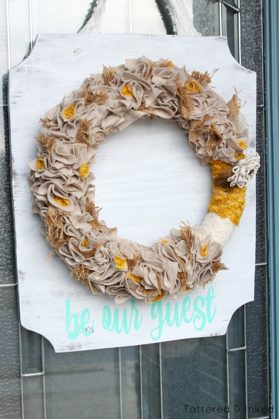 Tattered And Inked Be Our Guest Wooden Spring Wreath