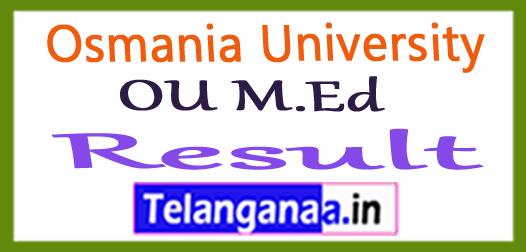 Osmania University OU M.Ed Exam Results