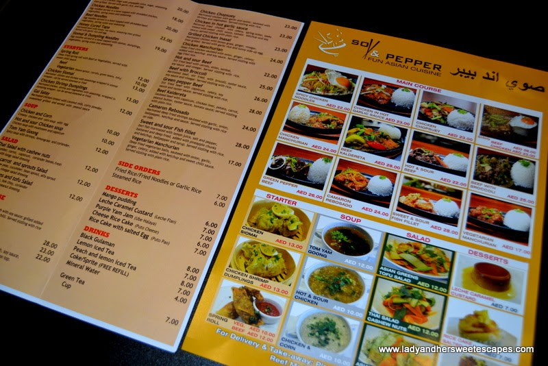 Food Menu of Soy and Pepper Reef Mall Dubai