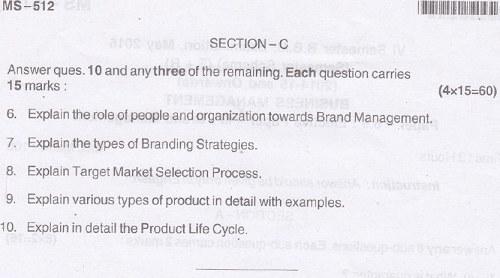 BU BBM Brand Management May 2016 Question Paper