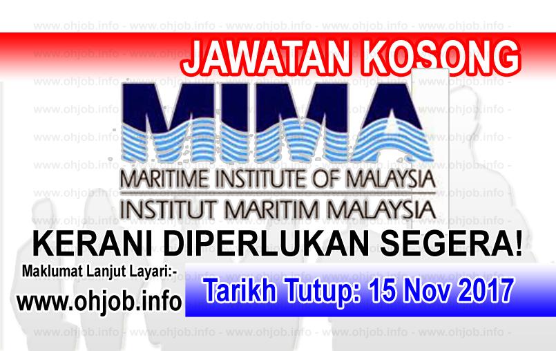 Jawatan Kerja Kosong MIMA - Institut Maritim Malaysia logo www.ohjob.info november 2017