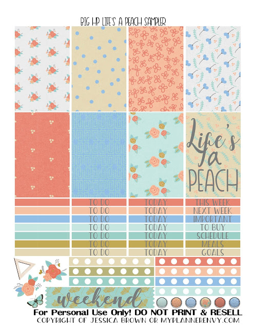 Free Printable Life's A Peach Sampler for the Big Happy Planner from myplannerenvy.com