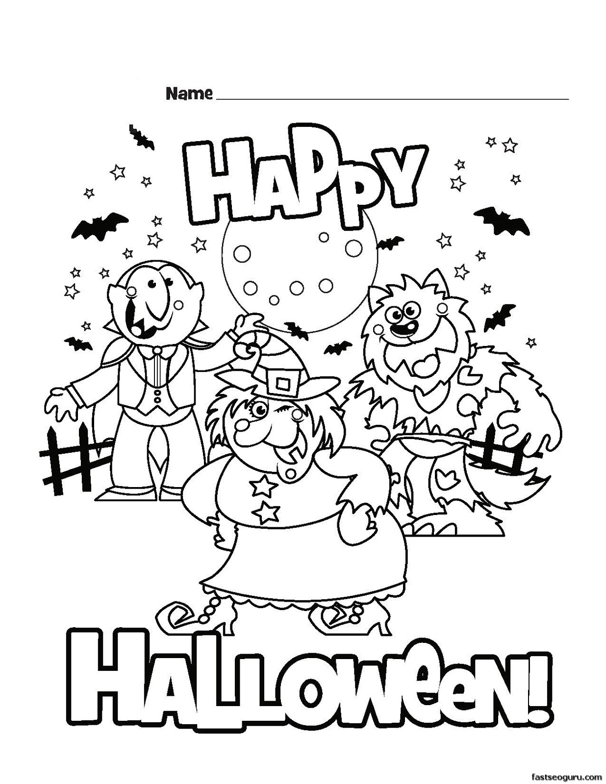 Free happy halloween coloring pages template for print for Happy halloween coloring pages printable
