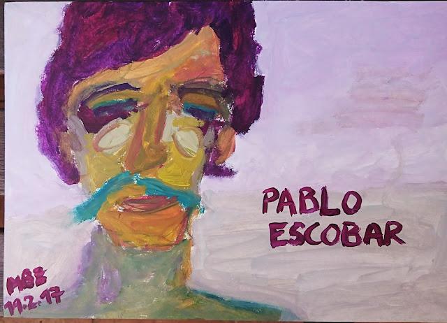 Pintura que muestra la cara de Pablo Escobar, tomada de una pelicula donde interpreta su personaje Benicio del Toro, realizada con pintura al óleo sobre papel canson de 200 g/m2, obra de Emebezeta, datada en Madrid el 19 de febrero de 2017. Portrait of Pablo Escobar made by Emebezeta.