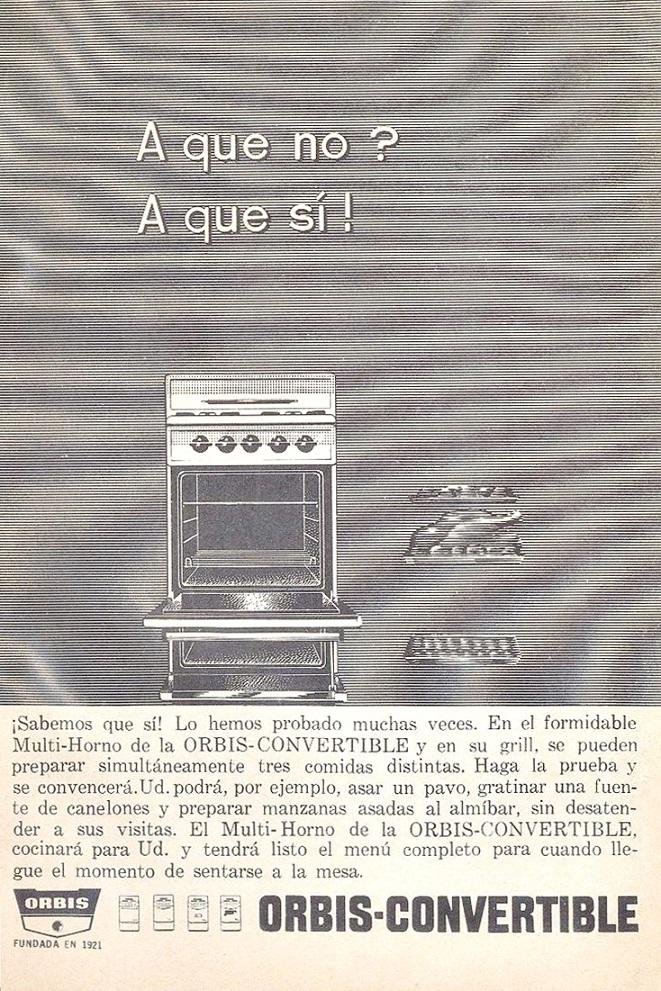 Publicidades Antiguas Argentinas Cocina Orbis Feb 1965