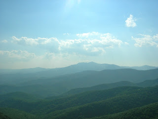 Looking at the blue Ridge Mountains from the Blowing Rock