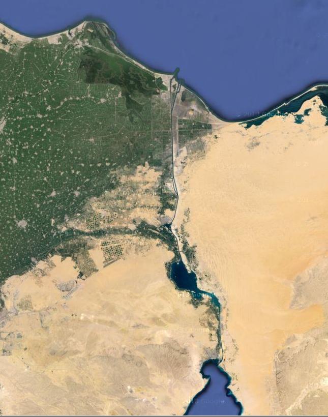 קצה מפרץ סואץ, תעלת סואץ, האגמים המרים ומזרח הדלתא.