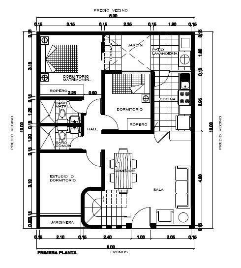 Planos de viviendas gratis plano de 8 x 20 m en pdf for Planos de arquitectura pdf
