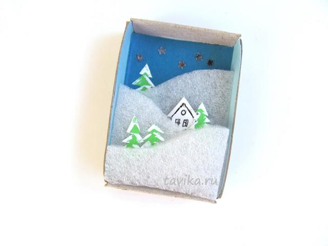 зимняя поделка из спичечного коробка matchbox