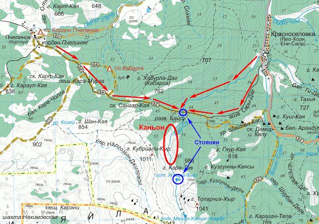 Карта маршрутов к каньону Байсу