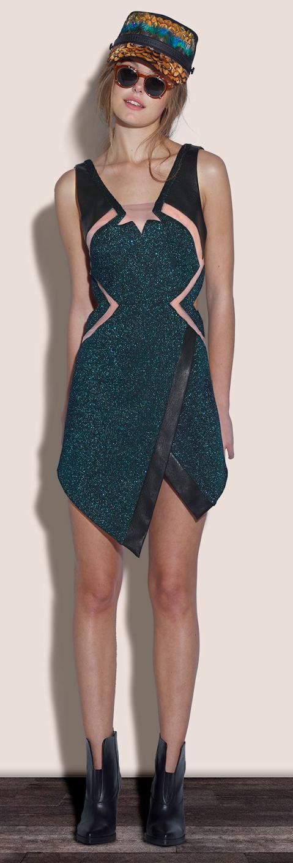 Black, Crocodile Print, Dress, Faux Leather, Faux Wrap, Green, Hem Detail, Mesh, Metallic, Mini Dress, Nude, Sheer, The Saturdays, Three Floor, Una Healy