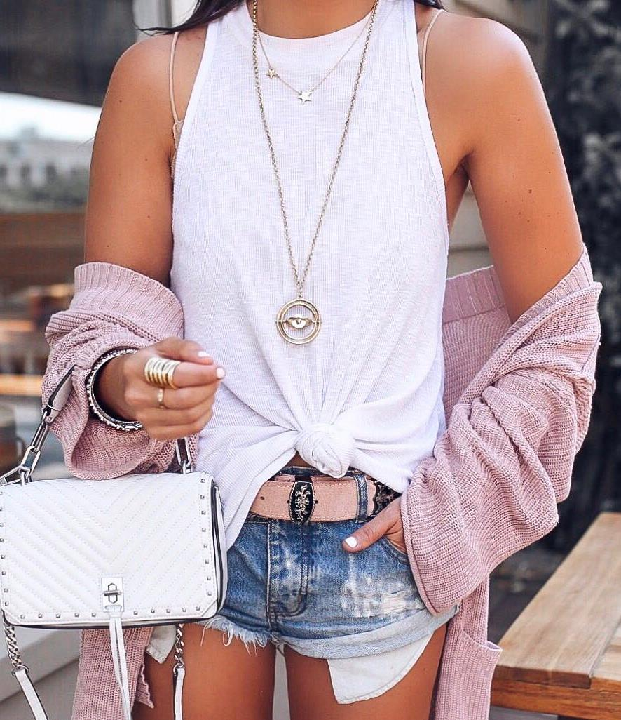 what to wear with a blush cardi : bag + white top + shorts