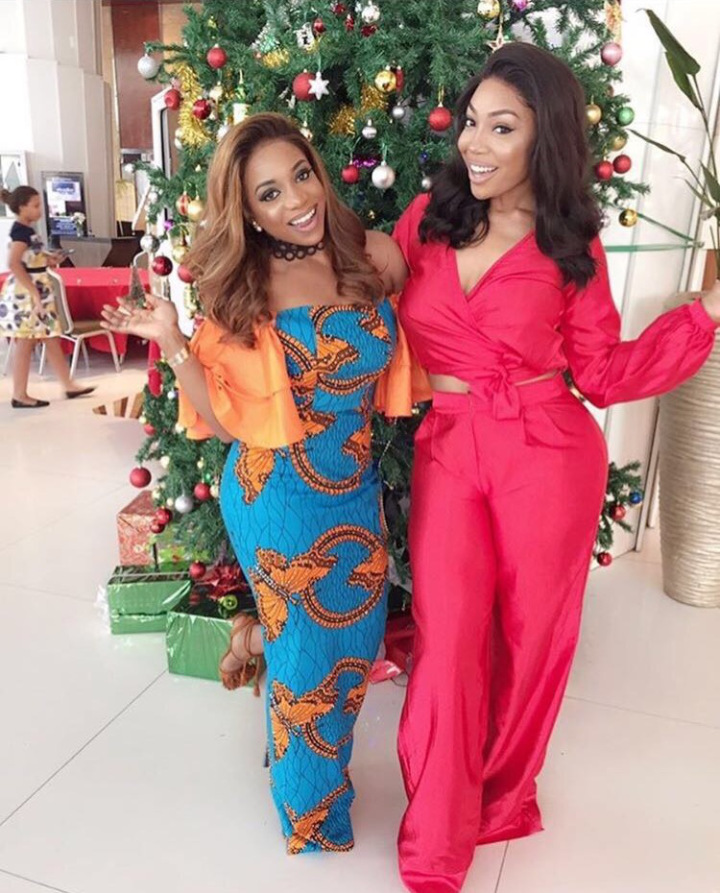 kika good hair & chioma ikokwu in red dress and flora pants