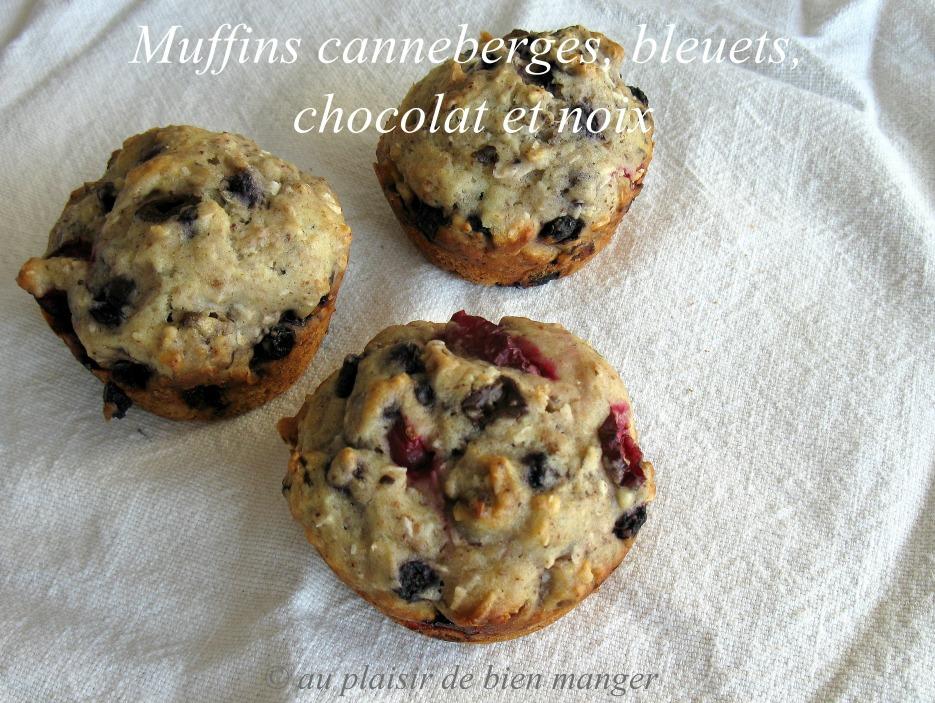 au plaisir de bien manger muffins canneberges bleuets chocolat et noix