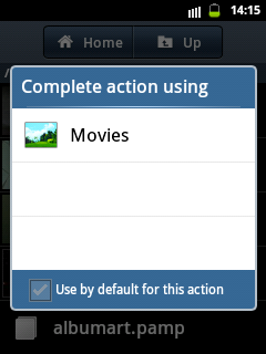 how to set android video player as default