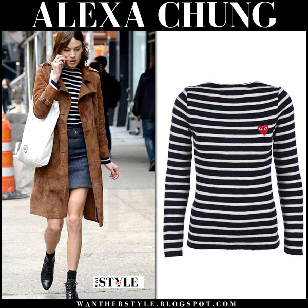 Alexa Chung in brown suede coat, stripe top and denim mini skirt what she wore celebrity trend style