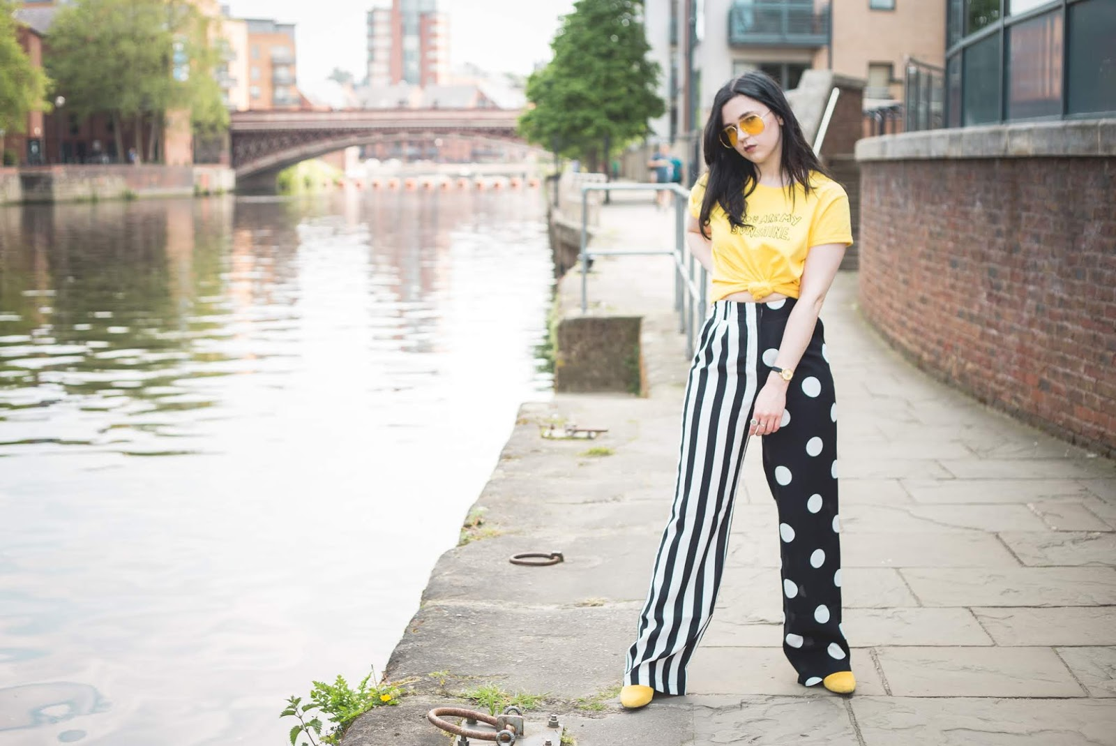 topshop contrast trousers