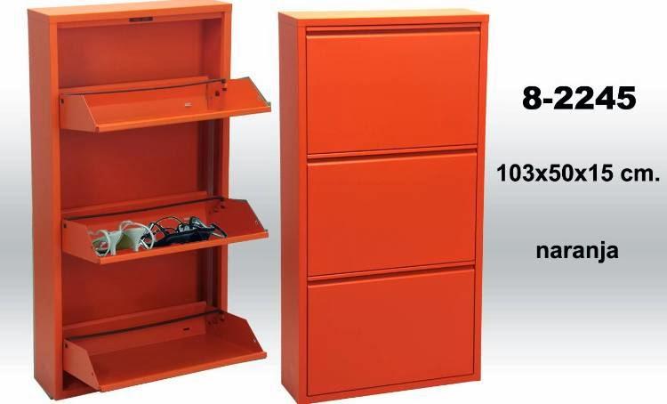 mueble para zapatos, mueble naranja zapatero