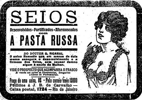 Propaganda de 1918 veiculada no Estado de São Paulo: Pasta Russa prometia uma saúde e beleza aos seios das mulheres.