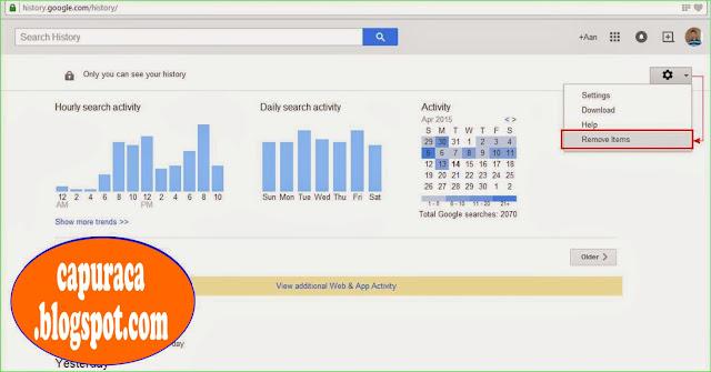 Cara menghapus Google search history,remove item,
