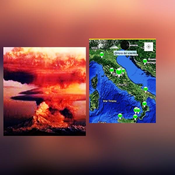 Sismo cerca del volcan vesubio de italia.