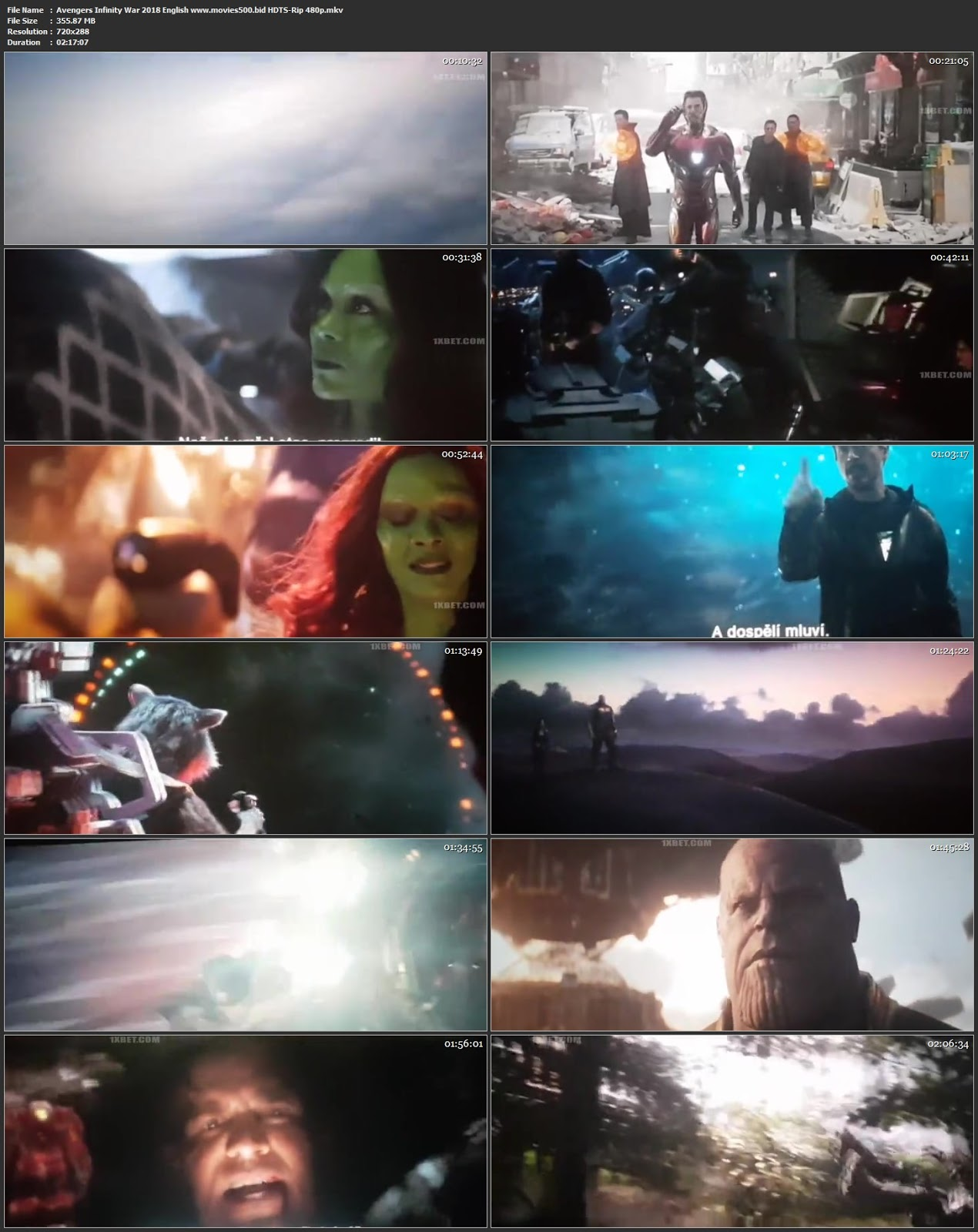 Avengers Infinity War 2018 Hollywood 300MB HDTSRip 480p at movies500.site