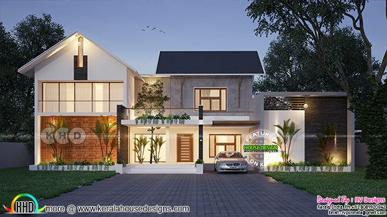 Mixed roof 3 bedroom European touch house rendering