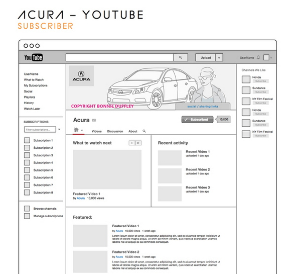 Youtube Wireframes