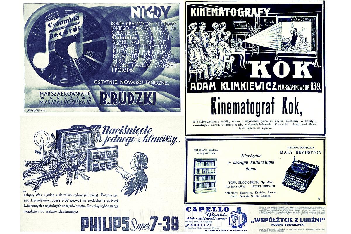 """Reklamy prasowe: Columbia (1928), Philips (1938), Kok (1913), Bibljoteka (1931), Capello (1938), """"Współżycie"""" (1939)"""