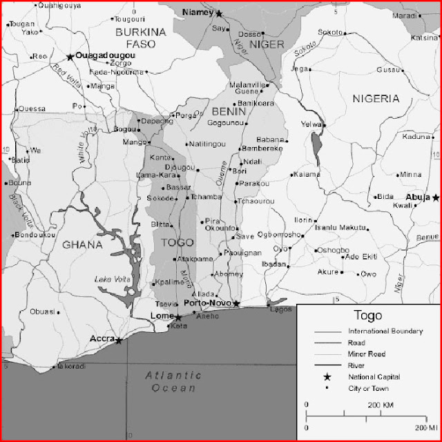 image: Black and white Togo map