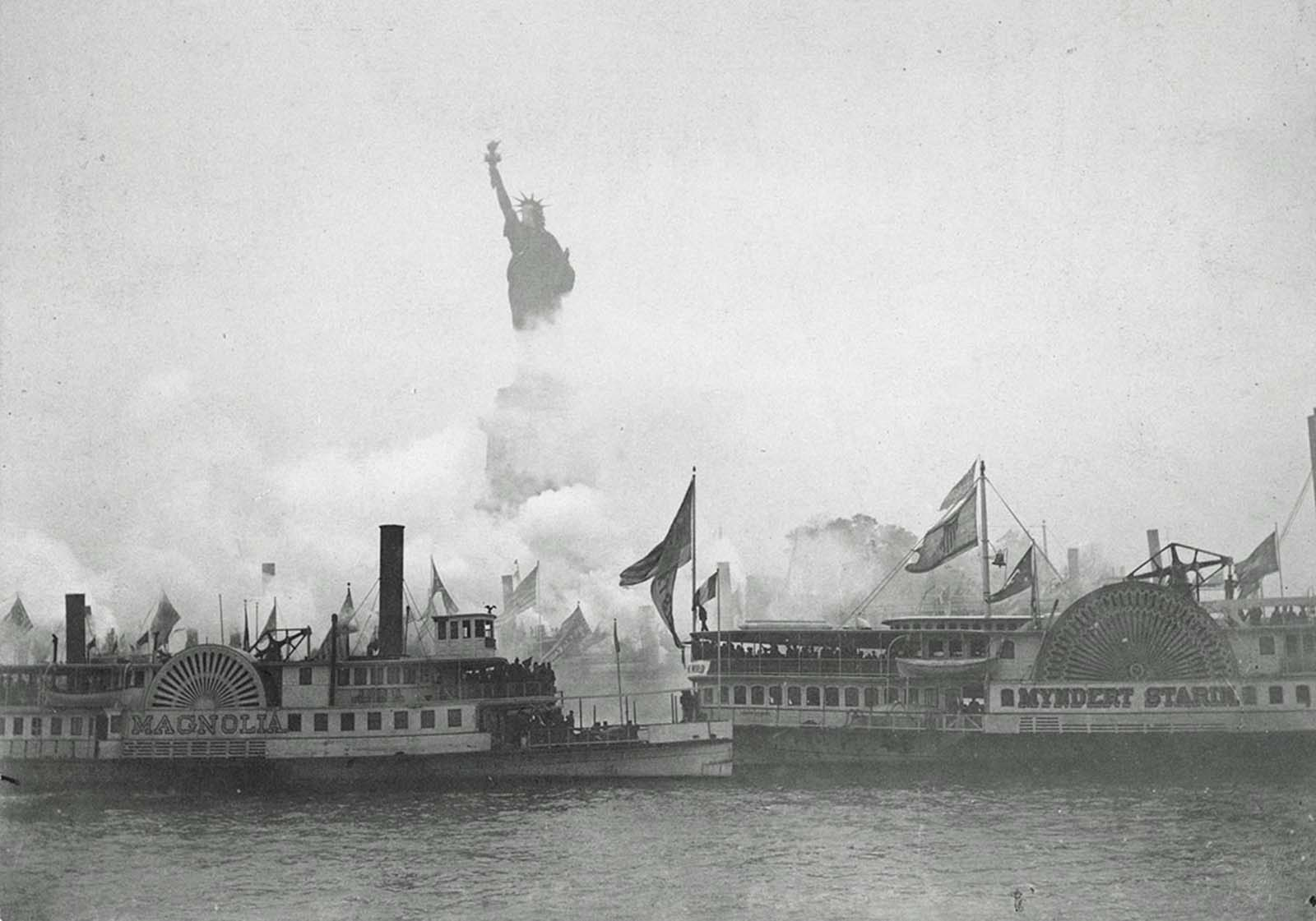 The inauguration of the Statue of Liberty, Liberty Enlightening the World, in New York Harbor, on October 28, 1886. A military and naval salute marked the event, presided over by U.S. President Grover Cleveland.