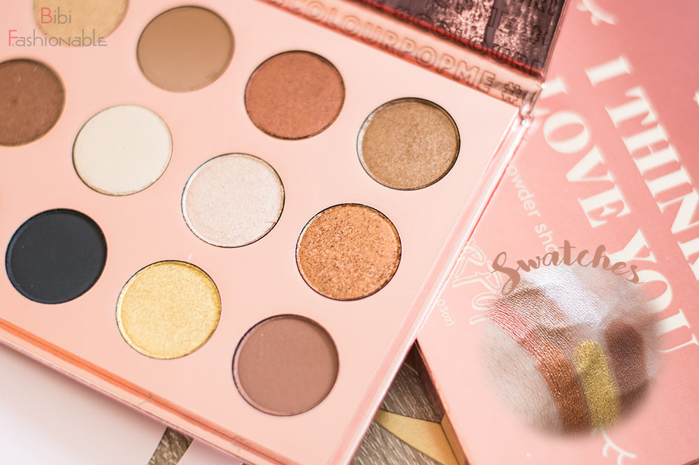 ColourPop I think I love you Pressed Shadow Palette Swatches rechteSeite