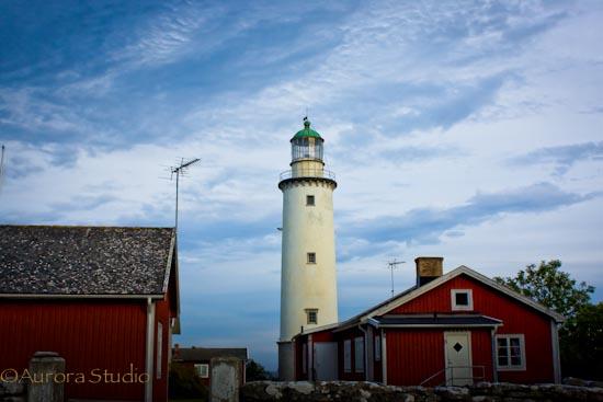 スウェーデン、ゴットランド島北部、フォーレ島の灯台。