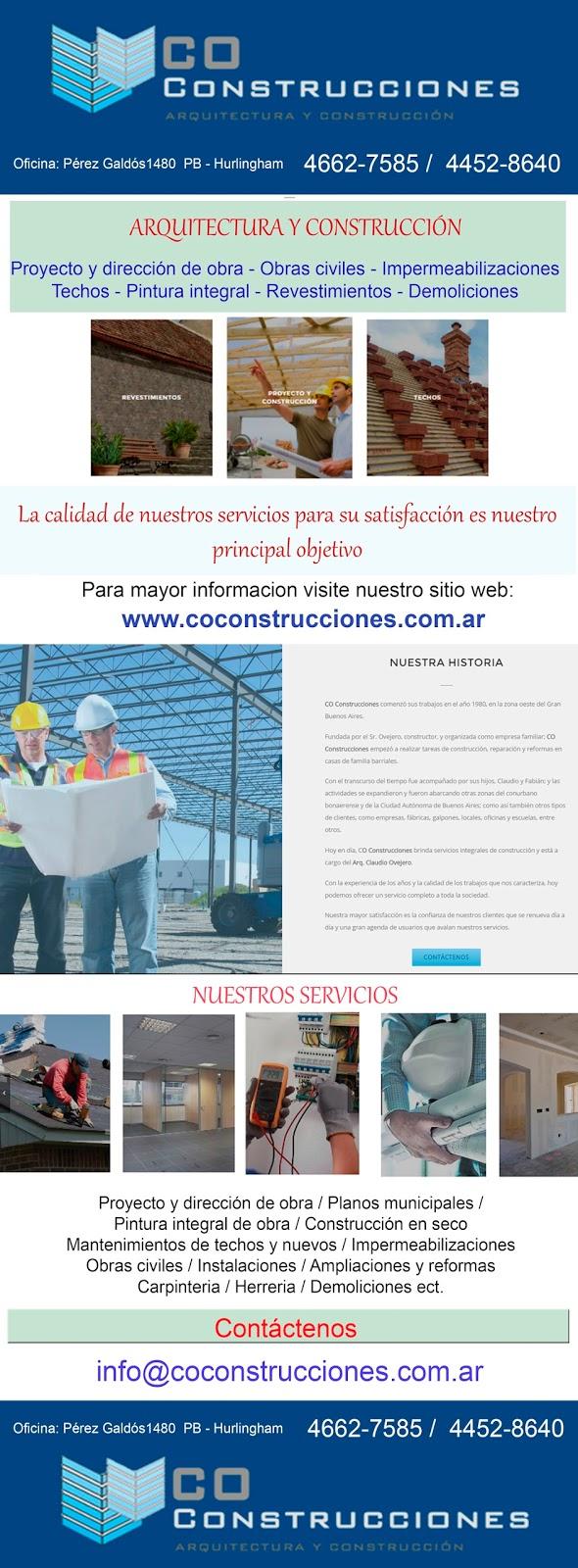 EMPRESA CONSTRUCTORA ALBAÑILERIA EN GENERAL COCONSTRUCCIONES EN HURLINGHAM TECHOS PLANOS MUNICIPALES CONSTRUCCIONES EN SECO LLAVE EN MANO