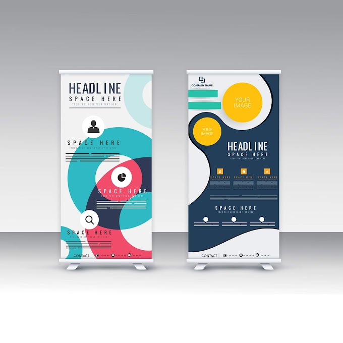 Corporate banner template scroll standee shape modern abstract Free vector