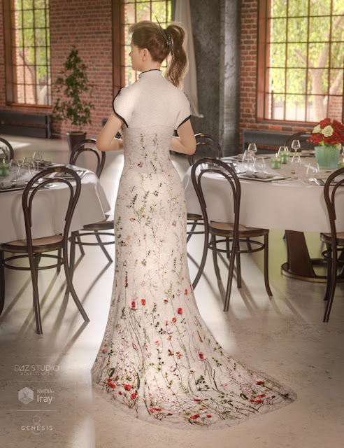 Polyantha Rose Dress for Genesis 8 Female