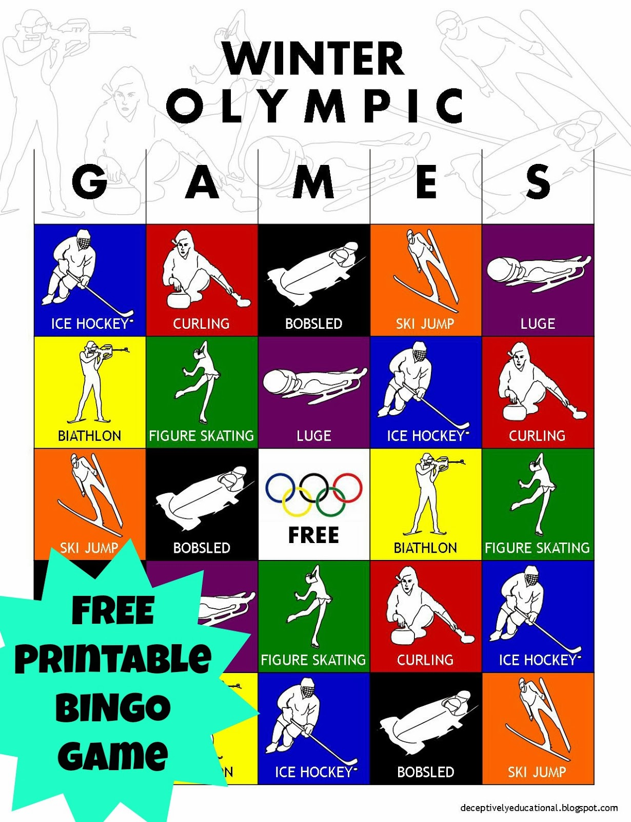 Relentlessly Fun Deceptively Educational Olympic Winter Games Bingo