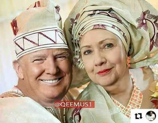 Pre-wedding photo of Donald Trump and Hillary Clinton