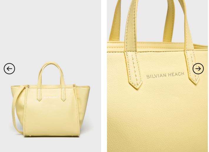 Silvian Heach - Geanta casual-eleganta mare galbena cu logo auriu