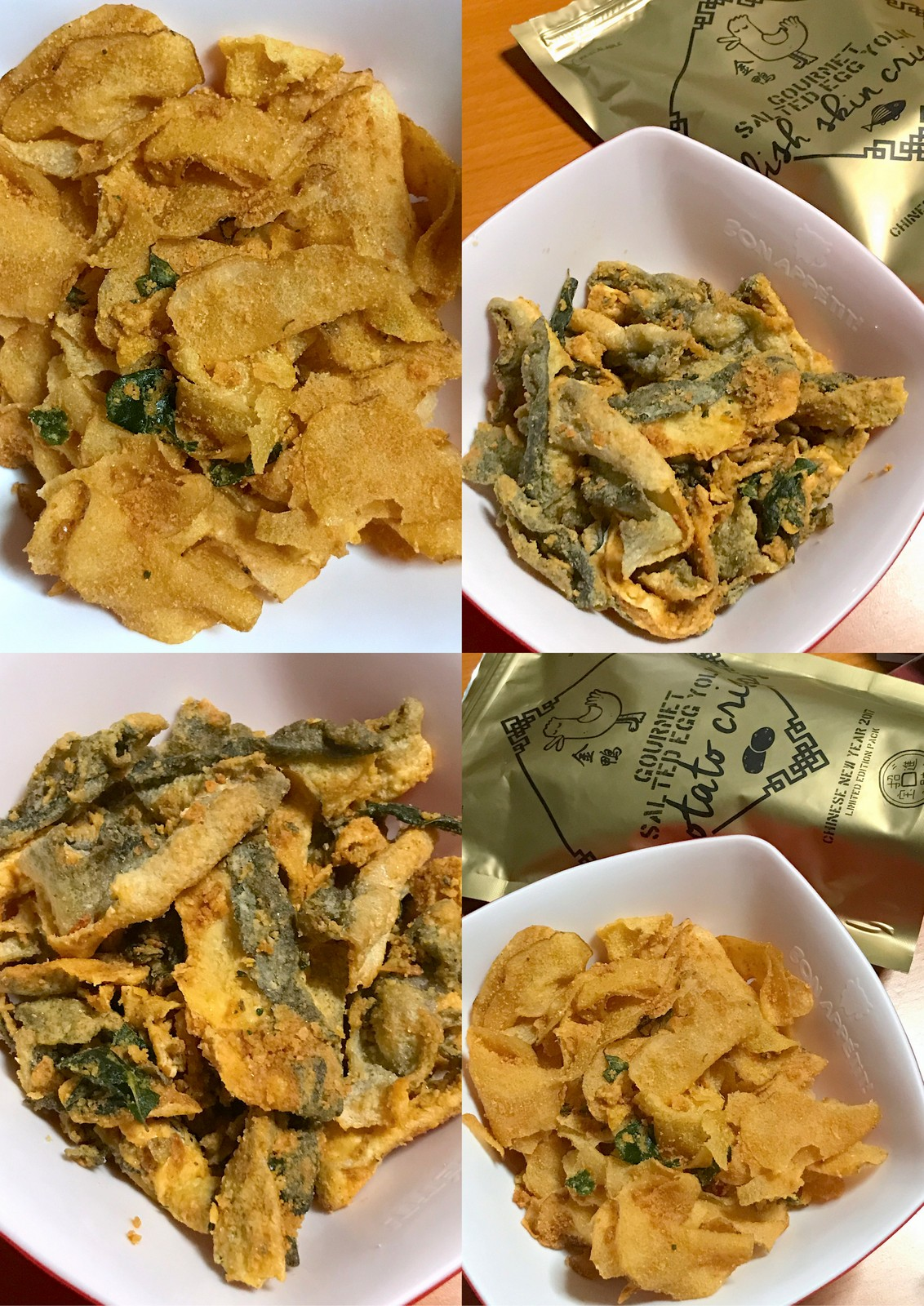 The golden duck salted egg yolk fish skin and potato chips for Salted egg fish skin