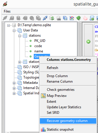 dominoc925: Using SpatiaLite GUI to create a point geometry table