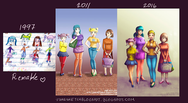 Comparación de dibujos a través del tiempo